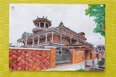 斑斓的儿童画,展现乡村庙宇里的信仰文化;也有描绘细致的水彩风景画